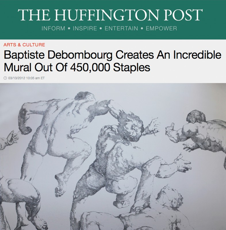Published the 13 March 2012, « Baptiste Debombourg Creates An Incredible Mural Out Of 450,000 Staples » by Andrew Reilly, US Edition
